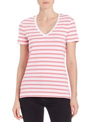 Lord And Taylor Plus Striped V Neck Tee Pretty Pink