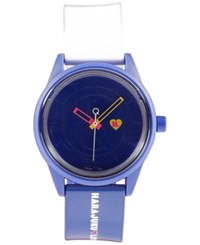 Harajuku Lovers Unisex Emoji Designed By Gwen Stefani Blue And White Printed Strap Watch 40Mm Hl2323 Blue White