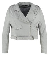 Missguided Plus Faux Leather Jacket Grey
