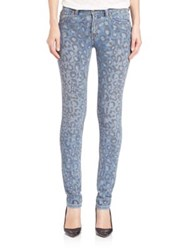 Marc By Marc Jacobs Mid Rise Leopard Print Skinny Jeans Painted Leopard