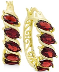 Victoria Townsend Rhodolite Garnet Hoop Earrings In 18K Gold Plated Sterling Silver