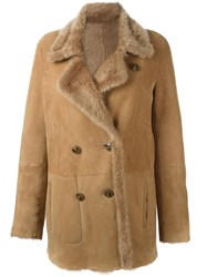Closed Shearling Peacoat Nude Neutrals