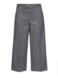 Red Valentino Cropped Wide Leg Herringbone Trousers