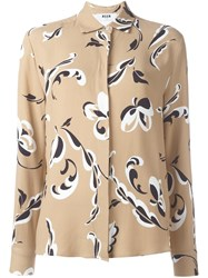 Msgm Floral Print Shirt Nude And Neutrals