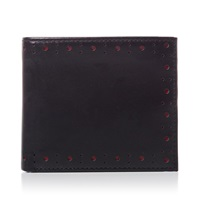 Fred Perry Punched Brogue Billfold Wallet Black And Maroon
