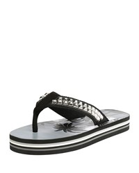 Saint Laurent Studded Platform Flip Flop Sandals Black Women's