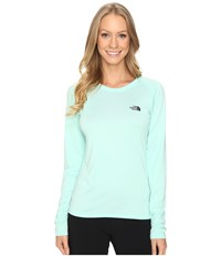 The North Face Long Sleeve Lfc Reaxion Amp Tee Ice Green Asphalt Grey Women's Long Sleeve Pullover Blue