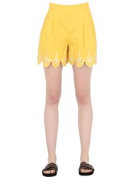 Temperley London Embroidered Cotton Poplin Shorts