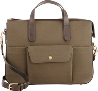 Mismo Leather Trim Briefcase Green