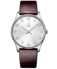 Calvin Klein Watch Men's Swiss Classic Brown Leather Strap 38Mm K4d211g6