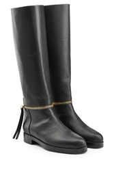 Pierre Hardy Leather Knee Boots With Zipper Black