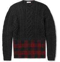 Valentino Check Panelled Cable Knit Wool And Alpaca Blend Weater Black