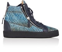 Giuseppe Zanotti Men's Stamped Leather Double Zip High Top Sneakers Blue Dark Green Gold Blue Dark Green Gold