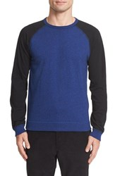 Rag And Bone Men's Colorblock Raglan Sleeve Sweatshirt Bright Blue
