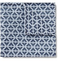 Marwood Diamond Patterned Silk And Cotton Blend Pocket Square Blue