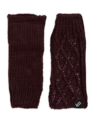 William Rast Cable Knit Fingerless Gloves Red