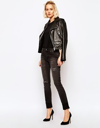 Cheap Monday Tight Skinny Jeans With Ripped Knees Black