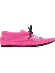 Kenzo Kenzo Embroidered Moccasins Pink And Purple