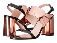Frances Valentine Poppy Rose Gold Patent Metallic Leather Women's Shoes Black