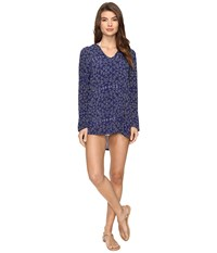 Splendid Deckhouse Geo Tunic Hoodie Cover Up Indigo Women's Swimwear Blue
