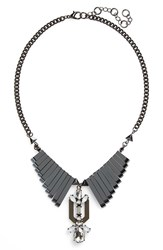 Leith Junior Women's Bp. Metal Bar Collar Necklace Hematite