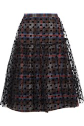 Paskal Layered Plaid Cotton Blend And Flocked Tulle Skirt Gray