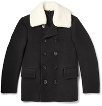 Burberry Shearling Trimmed Wool Peacoat Black