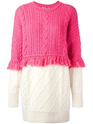 Steve J And Yoni P Mixed Cable Knit Fringed Jumper Pink Purple