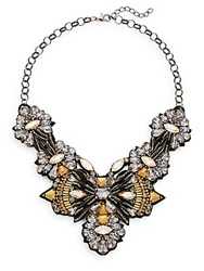 Deepa Gurnani Warrior Austrian Crystal And Suede Bib Necklace Gold Multi