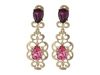 Oscar De La Renta Bold Crystal Filigree C Earrings Dusty Rose Earring Pink