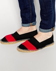 Asos Canvas Espadrilles In Black With Block Stripe Blackred