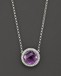 Bloomingdale's Amethyst And Diamond Round Pendant Necklace No Color