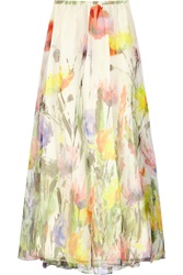 Badgley Mischka Floral Print Silk Organza Maxi Skirt White