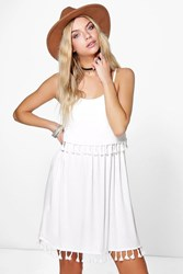 Boohoo Double Layer Tassel Shift Dress Cream