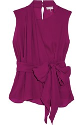 Emilio Pucci Draped Silk Chiffon Top Purple