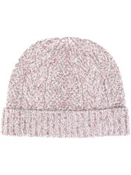 N.Peal Cable Knit Beanie Pink And Purple