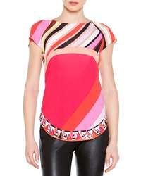 Emilio Pucci Short Sleeve Printed Silk Colorblock Top