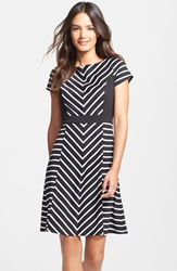 Stripe Ponte Fit And Flare Dress Regular And Petite Black White