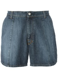 Walter Van Beirendonck Vintage Embossed Denim Shorts Blue
