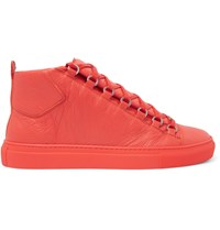 Balenciaga Arena Creased Leather High Top Sneakers Orange