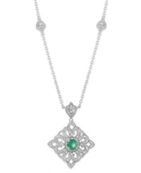 Macy's Emerald 3 8 Ct. T.W. And Diamond 1 8 Ct. T.W. Antique Pendant Necklace In Sterling Silver Green