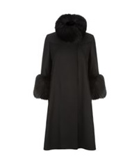 Elie Saab Fur Trim Wool Coat Black