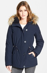 Dkny 'Snorkle' Parka With Faux Fur Trim Online Only Navy