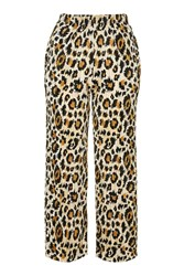 Topshop Leopard Print Cropped Trouser Natural