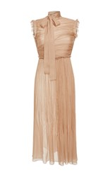 Rochas Sleeveless Draped Silk Chiffon Midi Dress Nude