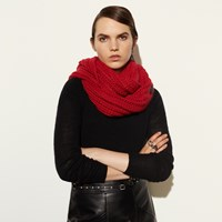 Coach New Chunky Knit Infinity Scarf True Red