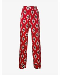 For Restless Sleepers Diamond Print Silk Trousers Red Multi Coloured