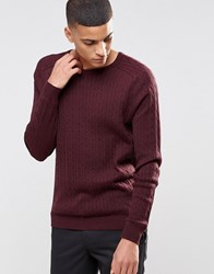 Selected Homme Cable Knit Jumper Burgundy Red