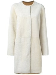 Yves Salomon Reversible Shearling Coat Nude And Neutrals