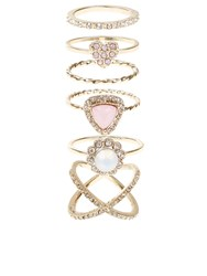 Accessorize Pretty Crystal Styling Ring Set Multi Pastel